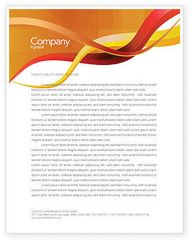 Yellow Waves Letterhead Template, 02914, Abstract/Textures — PoweredTemplate.com