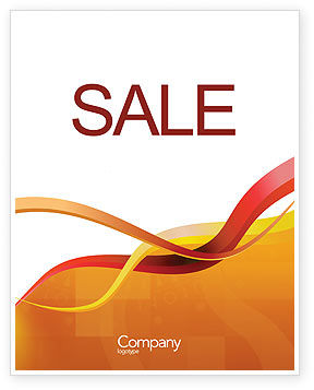 Yellow Waves Sale Poster Template, 02914, Abstract/Textures — PoweredTemplate.com