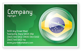 Flags/International: Brazil Sign Business Card Template #02926