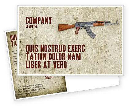 Military: Kalashnikov Postcard Template #02934