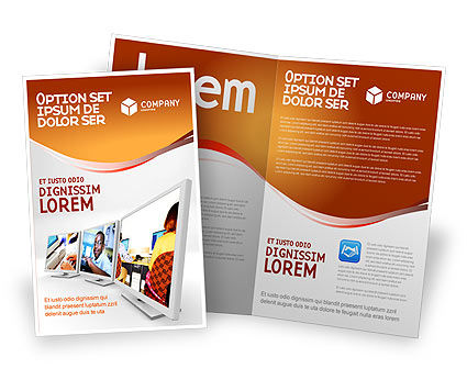 Computer Education In School Brochure Template, 02935, Education & Training — PoweredTemplate.com
