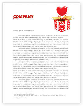 Love Present Letterhead Template, 02950, Holiday/Special Occasion — PoweredTemplate.com