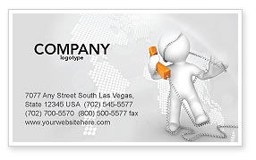 Telecommunication: Orange Telephone Business Card Template #02951