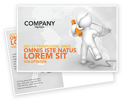 Telecommunication: Orange Telephone Postcard Template #02951