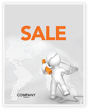 Telecommunication: Orange Telephone Sale Poster Template #02951