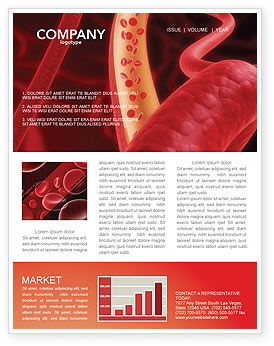 Red Blood Cells Newsletter Template, 02953, Medical — PoweredTemplate.com