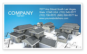 Construction: House Building Business Card Template #02955