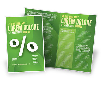 Percent Sign Brochure Template, 02957, Financial/Accounting — PoweredTemplate.com