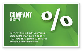 Financial/Accounting: Percent Sign Business Card Template #02957