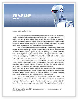 Technology, Science & Computers: Robot Letterhead Template #02958