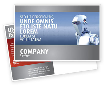 Robot Postcard Template, 02958, Technology, Science & Computers — PoweredTemplate.com