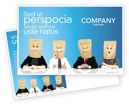 Social Mask Postcard Template, 02960, Consulting — PoweredTemplate.com