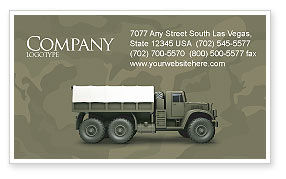 Military: Military Truck Business Card Template #02962