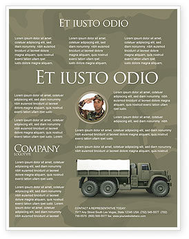 Military Truck Flyer Template, 02962, Military — PoweredTemplate.com
