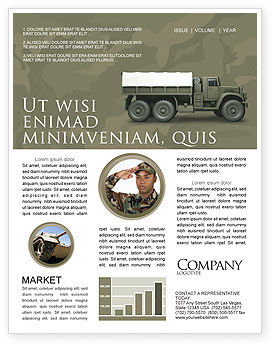 Military Truck Newsletter Template, 02962, Military — PoweredTemplate.com