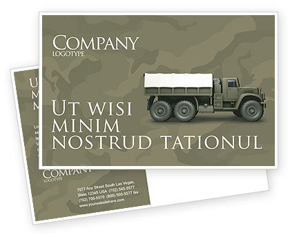 Military Truck Postcard Template, 02962, Military — PoweredTemplate.com