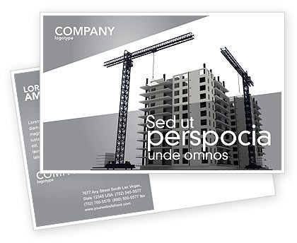Construction: Building Plot Postcard Template #02967