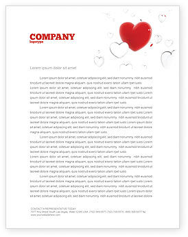 Holiday/Special Occasion: Hearts Letterhead Template #02969