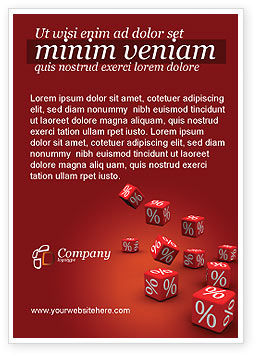 Financial/Accounting: Red Percent Cubes Ad Template #02987