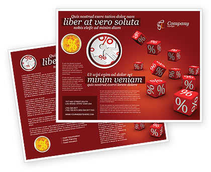 Red Percent Cubes Brochure Template, 02987, Financial/Accounting — PoweredTemplate.com