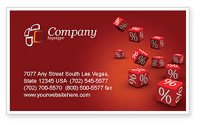 Red Percent Cubes Business Card Template