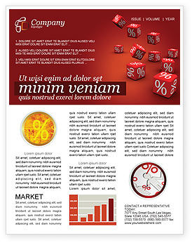 Financial/Accounting: Red Percent Cubes Newsletter Template #02987