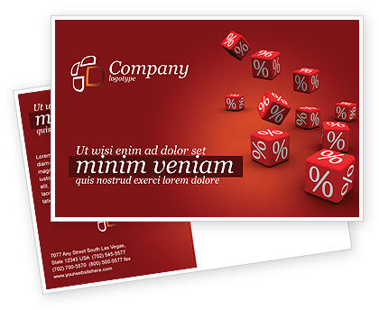Red Percent Cubes Postcard Template, 02987, Financial/Accounting — PoweredTemplate.com