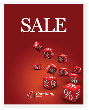 Financial/Accounting: Red Percent Cubes Sale Poster Template #02987