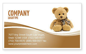 Holiday/Special Occasion: Teddy Bear On A White Background Business Card Template #02999
