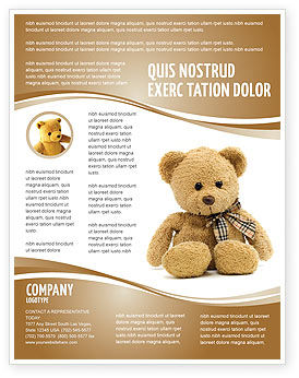 Holiday/Special Occasion: Teddy Bear On A White Background Flyer Template #02999
