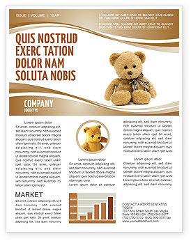 Teddy Bear On A White Background Newsletter Template, 02999, Holiday/Special Occasion — PoweredTemplate.com