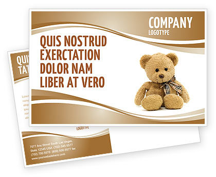 Teddy Bear On A White Background Postcard Template in Microsoft ...