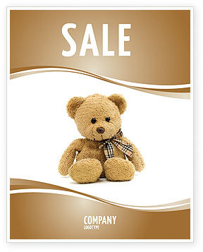 Teddy Bear On A White Background Sale Poster Template, 02999, Holiday/Special Occasion — PoweredTemplate.com