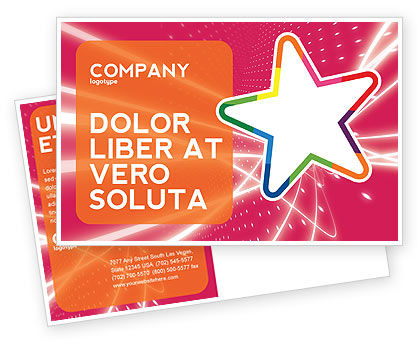 Disco Star Postcard Template, 03020, Art & Entertainment — PoweredTemplate.com