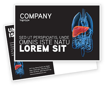 Medical: Liver Postcard Template #03025
