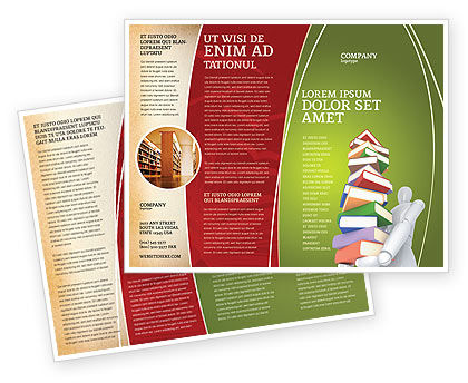 Amazing Books Stack In Hands Brochure Template, 03029, Education U0026 Training U2014  PoweredTemplate.com