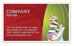 Education & Training: Books Stack In Hands Business Card Template #03029