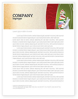 Education & Training: Books Stack In Hands Letterhead Template #03029
