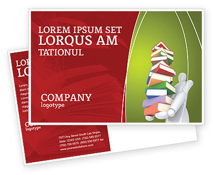 Books Stack In Hands Postcard Template, 03029, Education & Training — PoweredTemplate.com