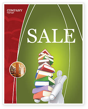 Education & Training: Books Stack In Hands Sale Poster Template #03029