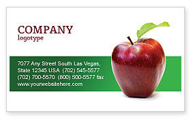 Agriculture and Animals: Red Apple Business Card Template #03041