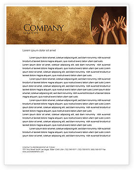 Hands Up Letterhead Template, 03060, Education & Training — PoweredTemplate.com