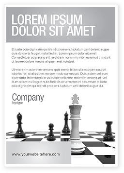 Chess White Begin And Win Ad Template, 03069, Business Concepts — PoweredTemplate.com