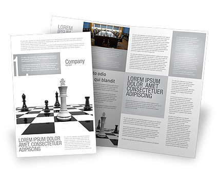 Chess White Begin And Win Brochure Template, 03069, Business Concepts — PoweredTemplate.com