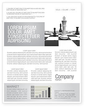 Business Concepts: Chess White Begin And Win Newsletter Template #03069