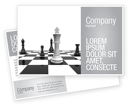 Business Concepts: Chess White Begin And Win Postcard Template #03069