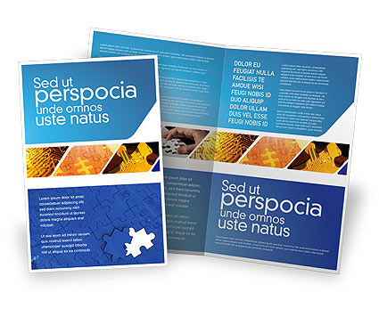 Abstract/Textures: Blue Jigsaw Brochure Template #03070