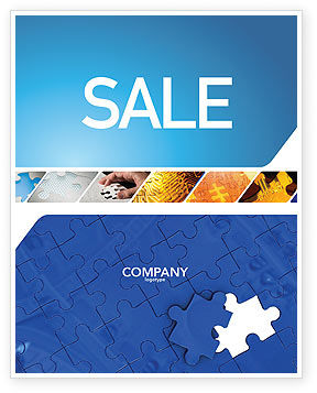 Blue Jigsaw Sale Poster Template, 03070, Abstract/Textures — PoweredTemplate.com
