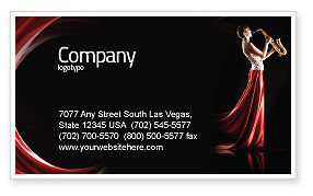 Jazz Saxophone in Girl's Lips Business Card Template, 03071, Art & Entertainment — PoweredTemplate.com