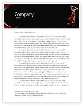 Jazz Saxophone in Girl's Lips Letterhead Template, 03071, Art & Entertainment — PoweredTemplate.com